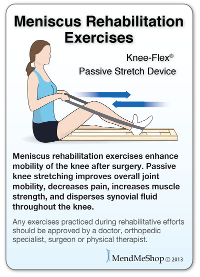 Knee-Flex Meniscus rehabilitation exercises enhance mobility of the knee after surgery